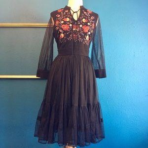 eShakti black dress w/ embroidery & mesh sleeves